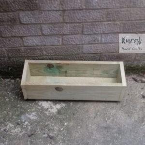 wooden trough planter 60cm 19cm 17cm