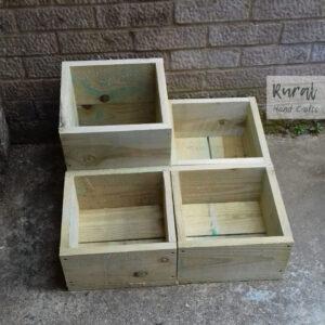 square wooden separate planter set 4 pieces
